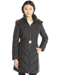 Cole Haan Black Quilted Down Filled Hooded Belted Jacket - Lyst