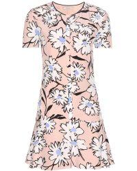 Nina Ricci Printed Silk Dress pink - Lyst