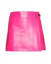 T By Alexander Wang Pink Leather Mini Skirt - Lyst