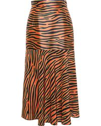 House Of Holland Zebra Print Silk Midi Skirt - Lyst