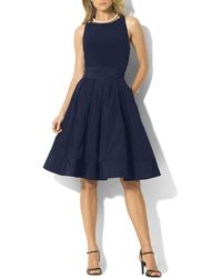 Ralph Lauren Lauren Petites Dress  Matte Jersey Taffeta - Lyst