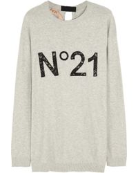 No 21 Laceinsert Cotton Sweater - Lyst