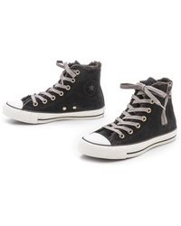 Converse Chuck Taylor All Star Side Zip Sneakers - Black - Lyst