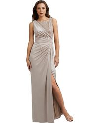 Adrianna Papell Petite Jersey And Metallic Lace Draped Gown - Lyst