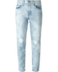 Current/Elliott Cropped Ripped Slim Jeans - Lyst