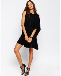 Asos T-Shirt Dress With One Side Drape - Lyst