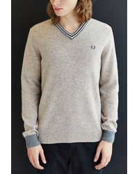 Fred Perry Fleck Knit Tennis V-neck Sweater - Lyst