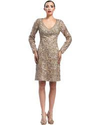 Sue Wong Neck Metallic Lace Cocktail Dress - Lyst