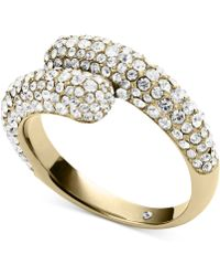 Michael Kors Crystal Pave Bypass Ring - Lyst