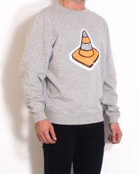 Carven Grey Cotton Sweater With Applied Embroidery gray - Lyst