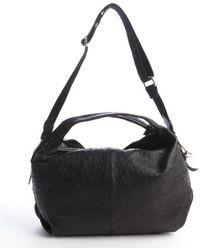 Furla Black Ostrich Embossed Leather Elisabeth Hobo - Lyst