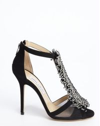 Jimmy Choo Black Suede Crystal Pin Fortune Heel Sandals - Lyst