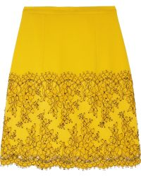 Christopher Kane Lace-trimmed Wool-crepe A-line Mini Skirt - Lyst