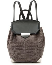 Alexander Wang Prisma Croc Embossed Backpack Oyster - Lyst