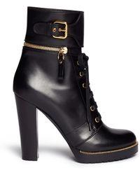 Sergio Rossi Detachable Cuff Leather Combat Boots - Lyst