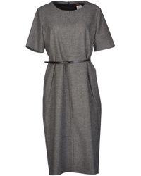 Max Mara Studio Gray Kneelength Dress - Lyst