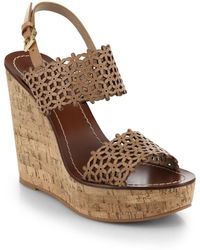 Tory Burch Daisy Cutout Leather Wedge Sandals brown - Lyst
