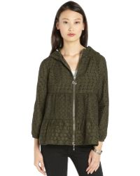 Moncler Olive Green Eyelet Embroidered 'Etain' Hooded Zip Jacket - Lyst
