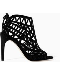 Zara Open Work High Heel Leather Sandal - Lyst