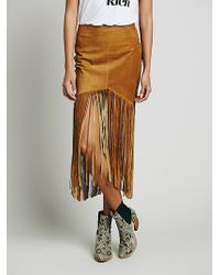 Free People Sedona Leather Skirt brown - Lyst