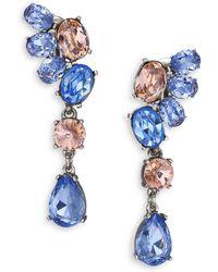 Oscar de la Renta Asymmetrical Crystal Clip-On Drop Earrings multicolor - Lyst