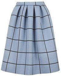 Topshop Petite Grid Print Bonded Midi Skirt - Lyst