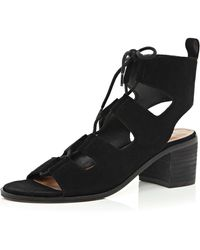 River Island | Black Leather Ghillie Lace-up Sandals | Lyst