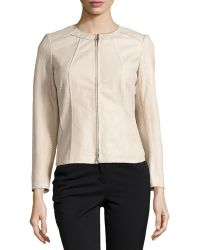 Lafayette 148 New York Essa Embossed Leather Jacket - Lyst