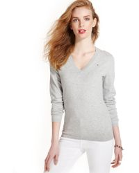 Tommy Hilfiger Long-Sleeve V-Neck Sweater - Lyst