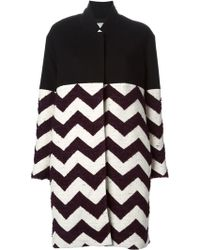 Forte Forte Colour Block Chevron Coat - Lyst