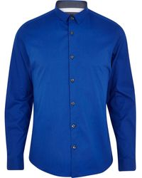 River Island Bright Blue Stretchcotton Long Sleeve Shirt - Lyst