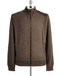 Michael Kors Leather Accented Zip Up Sweatshirt - Lyst