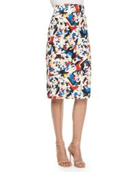 Carolina Herrera High-Waisted Printed Pencil Skirt multicolor - Lyst