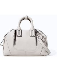 Zara Stiff Leather Bowling Bag with Zips - Lyst