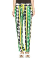 Emma Cook - Houndstooth Trousers - Yellow/Green - Lyst