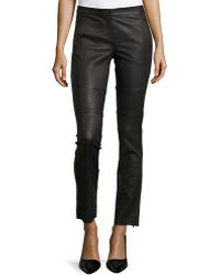 Halston Heritage Skinny Zipper-Cuff Leather Pants - Lyst