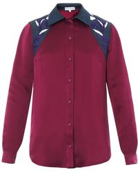 Jonathan Saunders Judith Embroidered Satin Shirt - Lyst