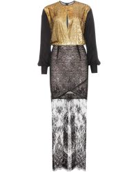 Alessandra Rich Floor-Length Lace Dress black - Lyst