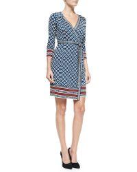 Diane von Furstenberg Tallulah 3/4-Sleeve Printed Silk Wrap Dress - Lyst