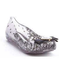 Melissa Black And White Bow-Embellished Transparent Jellies - Lyst