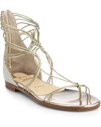 Christian Louboutin Blanca Metallic Leather Multi-Strap Sandals gold - Lyst