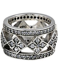 King Baby Studio Wide Band Ring W Mb Cross and Cz - Lyst