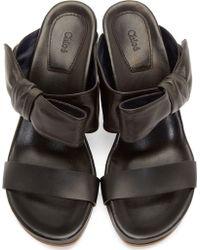 Chloé Black Leather Bow Sandals - Lyst