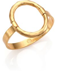 Tory Burch Hammered Oval Bracelet - Lyst