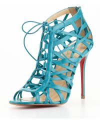 Christian Louboutin Laurence Laceup Red Sole Cage Sandal - Lyst