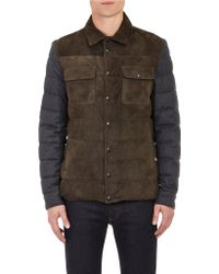 Moncler Suede & Flannel Quilted Shirt-Jacket - Lyst