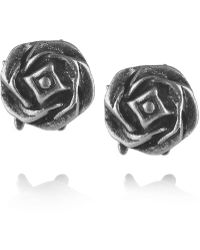 Giles & Brother Silver Rose Stud Earrings - Lyst