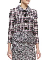 Oscar de la Renta Four-Button Cropped Tweed Jacket - Lyst