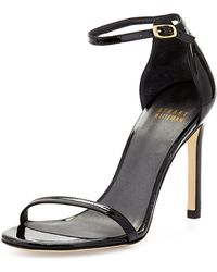 Stuart Weitzman Nudistsong Patent Ankle-strap Sandal - Lyst