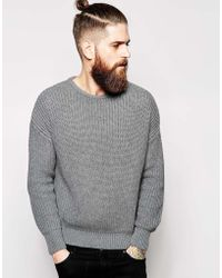 American Apparel Knitted Fishermans Crew Neck Sweater gray - Lyst